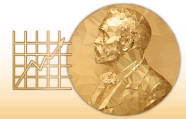Nobel Economy award, gold polygonal medal and graphic symbol