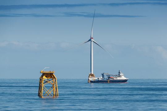 Offshore vessel in the sea