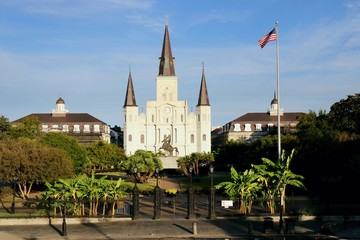 New Orleans, Jackson Square, usa, Louisiana, French Quarter, Andrew Jackson, St. Louis Cathedral, church, architecture, castle, cathedral, old,