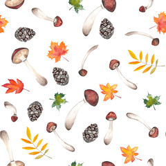 Watercolor autumn seamless pattern of cones, mushrooms and autumn leaves on a white and colored background handpainted