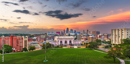 Fototapete Kansas City, Missouri, USA Skyline