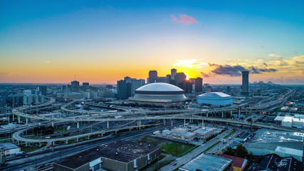 Aerial View of New Orleans, Louisiana, USA Skyline at Sunrise Fotomurales