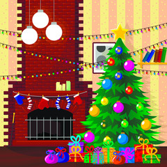 Illustration for christmas. Christmas tree, gifts, snowflakes. All elements are located on different layers and can be easily manipulated.