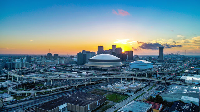 Aerial View of New Orleans, Louisiana, USA Skyline at Sunrise
