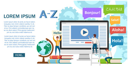 Language school concept banner. Monitor, books, and humans. Online education concept. Flat vector illustration on white background. Website page and mobile app design