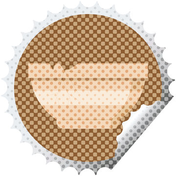 cracked bowl round sticker stamp