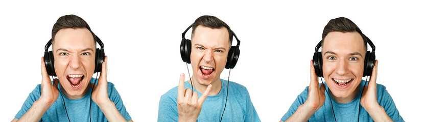 Set of portraits of young joyful guy in a headphones listening music isolated on a white background.