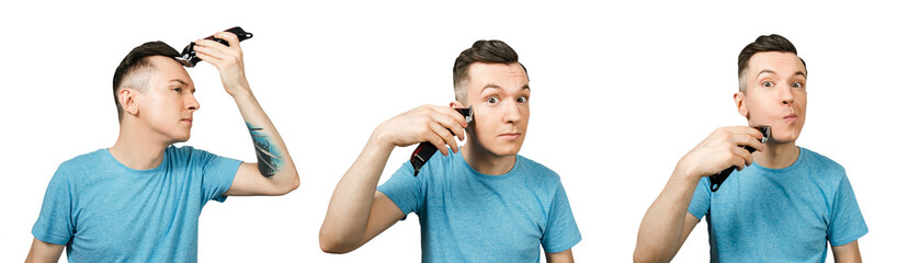 Set of portraits of a young guy doing a haircut to himself isolated on a white background.