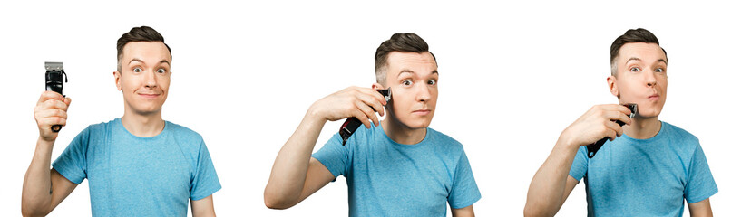 Set of portraits of young guy shaving beard isolated on a white background.