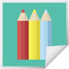 color pencils graphic square sticker