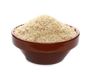 Integral long rice pile in clay pot isolated on white background