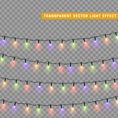 Garlands colorful. Christmas lights isolated realistic design elements.