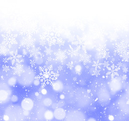 Abstract Blue Snowflakes Holiday Background