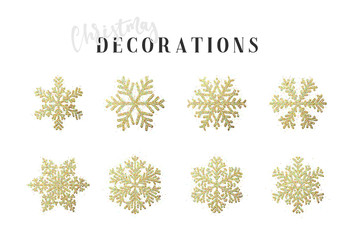 Snowflakes decoration Christmas and New Year's symbols. Set 8 golden different snowflakes of handmade. Winter objects. Festive elements. Fotoväggar