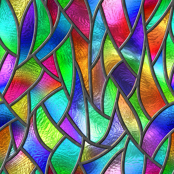 Colored glass seamless texture with pattern for window, stained glass,  3d illustration
