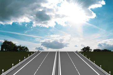 Lebensweg, leere Autobahn führt in den leuchtenden Himmel. 3d Illustration