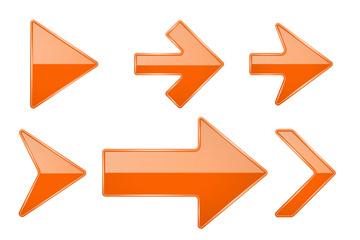Orange arrows. Shiny 3d glass icons