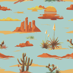 Vintage beautiful seamless desert illustration pattern. Landscape with cactus, mountains, sunset vector hand drawn style background