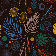 Seamless hand drawn tropical vector pattern with palm leaves on dark background.