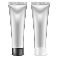 Cream tube. Silver container with white and black lid