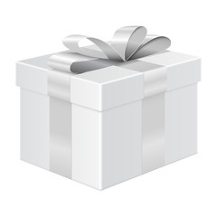 Gift box with silver ribbon. Package mockup