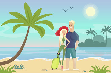 Vector illustration of couple on the beach. Young Woman and man standing on the tropical landscape near the sea, ocean, palm tree. Travel concept, relax, vacation and tourism in flat cartoon style.