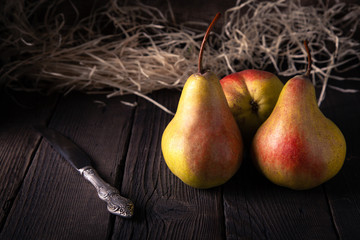 Fruit pear organic food organic on a wooden table rustic style.