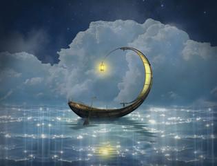 Fototapeta Fantasy boat in a starry night obraz