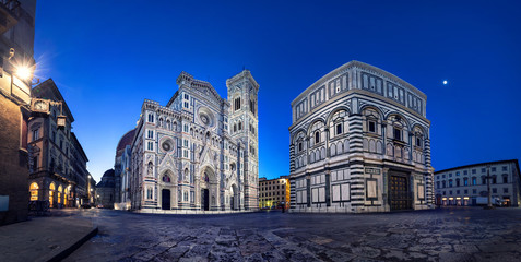 Florence at dusk. Panoramic view of Cathedral of Santa Maria del Fiore, Italy