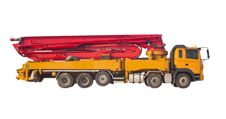 truck or machine with concrete pump for construction and industrial use isolated on white