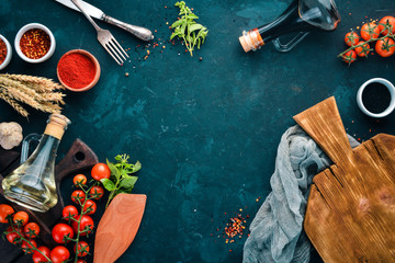 Wall Mural - Food Background. Cooking. On the old background. Free copy space. Top view.