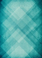 blue green background with textured geometric triangle and diamond pattern and grunge paint spatter texture