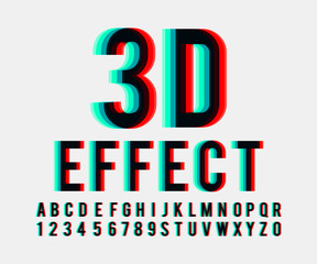 Font 3d effect vector