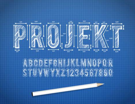 Blue Print sketch vector font