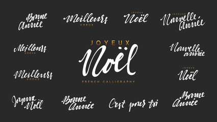 French lettering Joyeux noel, Meilleurs Voeux, Bonne annee. Merry Christmas and Happy New Year, white text calligraphy