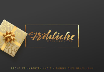 German text Frohliche Weihnachten. Merry Christmas gold lettering in a frame background.