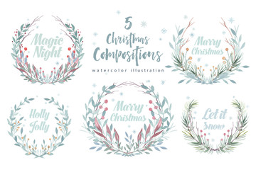 Christmas wreath card. Winter Watercolor painting illustration. Berry wreath for Christmas greeting. New year holiday frame.