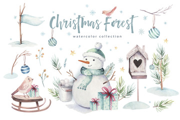 Wall Mural - Watercolor Merry Christmas illustration with snowman, holiday cute animals deer, rabbit. Christmas celebration cards. Winter new year design.