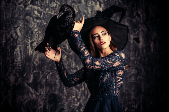 raven and pretty witch