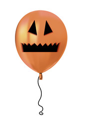 Halloween air flying balloon. Scary pumpkin face monster mouth and eyes. Halloween vector collection.