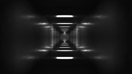 Spaceship corridor. Futuristic tunnel with light. Of Empty Sci Fi Futuristic Dark Room With Light Blue Lights Wall mural