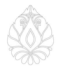Monochrome Decorative Damask Design Element