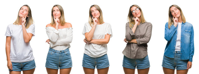 Collage of blonde beautiful woman wearing casual look over white isolated backgroud with hand on chin thinking about question, pensive expression. Smiling with thoughtful face. Doubt concept.