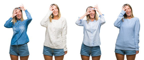 Collage of blonde beautiful woman wearing casual look over white isolated backgroud doing ok gesture with hand smiling, eye looking through fingers with happy face.