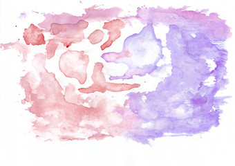 Crimson (or red) and violet (lavender) mixed abstract watercolor background. It's useful for greeting cards, valentines, letters. Horizontal gradient art style handicraft pattern.