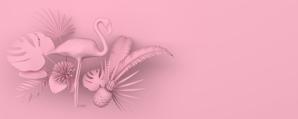 Flamingo surrounded by tropical exotic plants. Monochrome pink image on a pink background. 3D rendering.