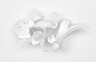 Flamingo surrounded by tropical exotic plants. Monochrome white image on a white background. 3D rendering.
