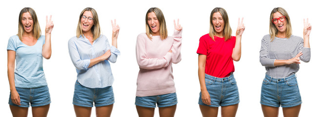 Collage of blonde beautiful woman wearing casual look over white isolated backgroud smiling with happy face winking at the camera doing victory sign. Number two.