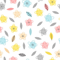Hand drawn seamless pattern with flowers and leaves. Cute floral background. Trendy creative graphic design