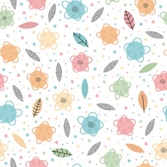 Hand drawn seamless pattern with flowers and leaves. Trendy creative graphic design. Cute floral background